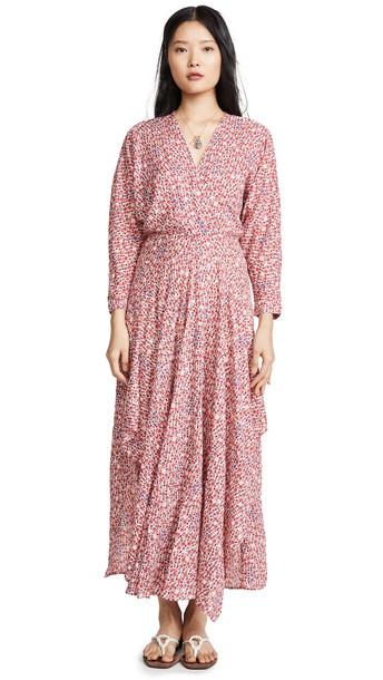 Poupette St Barth Ilona Flounce Long Dress in pink