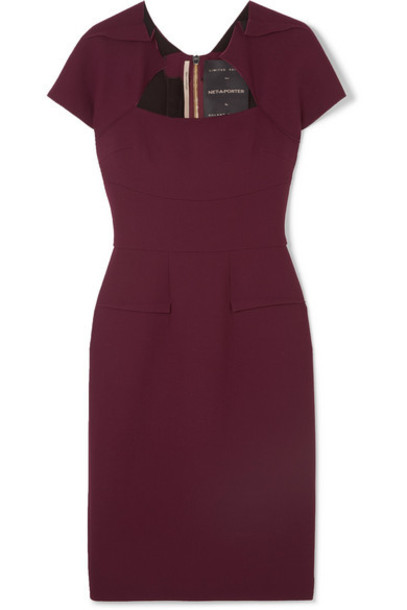 Roland Mouret - Wool-crepe Dress - Burgundy