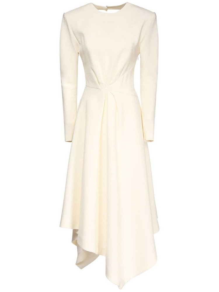 ALEXANDRE VAUTHIER Crepe Asymmetric Midi Dress in ivory