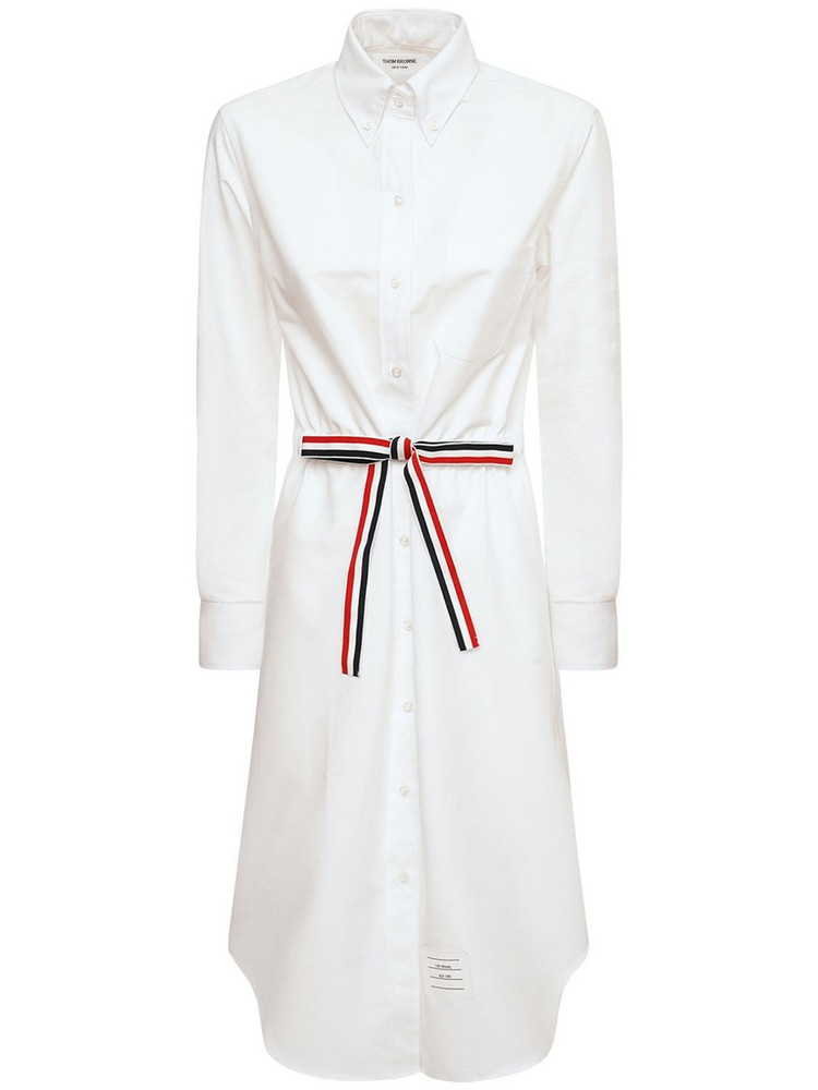THOM BROWNE Supima Cotton Midi Shirt Dress W/ Belt in white