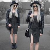 sammi jackson,blogger,sunglasses,jacket,dress,bag,shoes,leather jacket,goth,ankle boots
