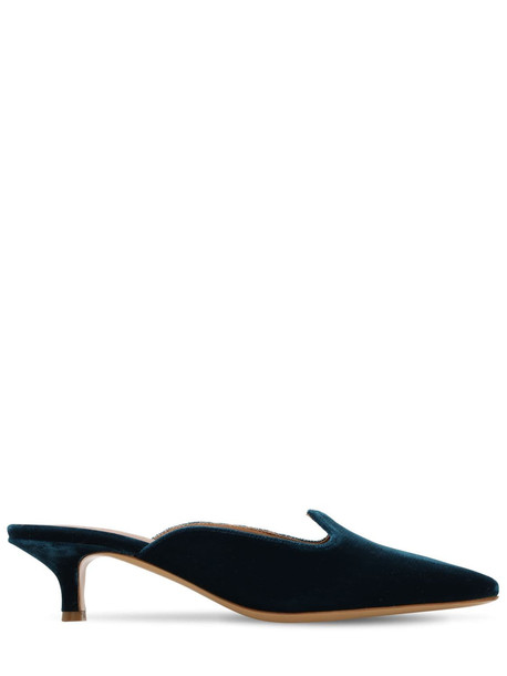 LE MONDE BERYL 40mm Velvet Mules in petrol