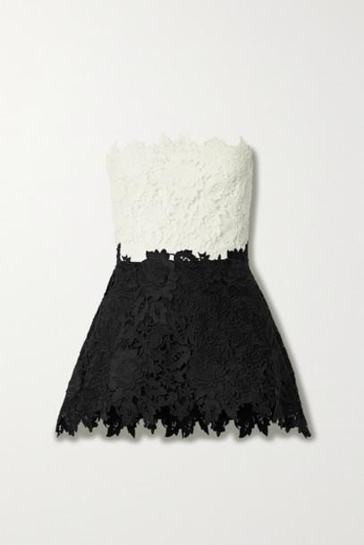 Lela Rose - Strapless Two-tone Guipure Lace Peplum Top - White
