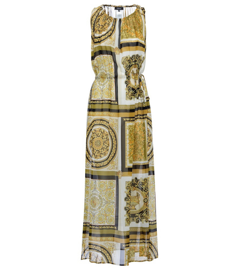 Versace Barocco Mosaic silk maxi dress in gold