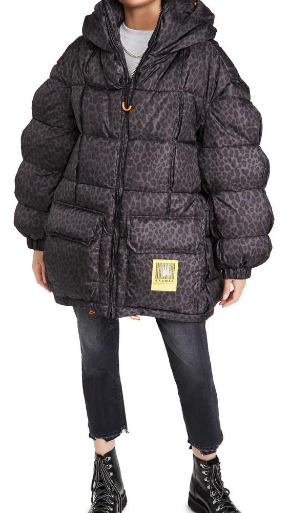 BRUMAL Mid-Length Down Hooded Jacket in grey / leopard