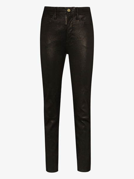 FRAME mid-rise slim-fit trousers in black