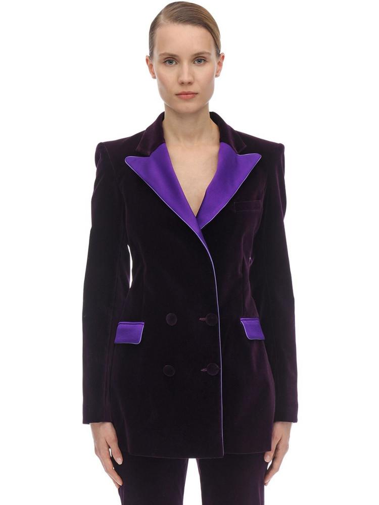 HEBE STUDIO Bianca Velvet & Satin Blazer in purple