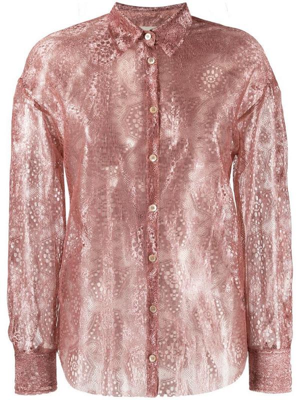 Forte Forte shimmer effect shirt in pink