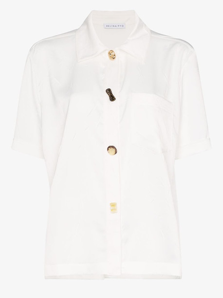 Rejina Pyo mixed button crinkled satin shirt in white