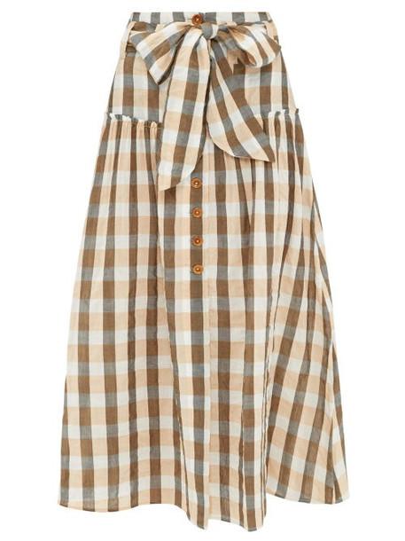 Belize - Vanessa Gingham Cotton-blend Midi Skirt - Womens - Orange Multi