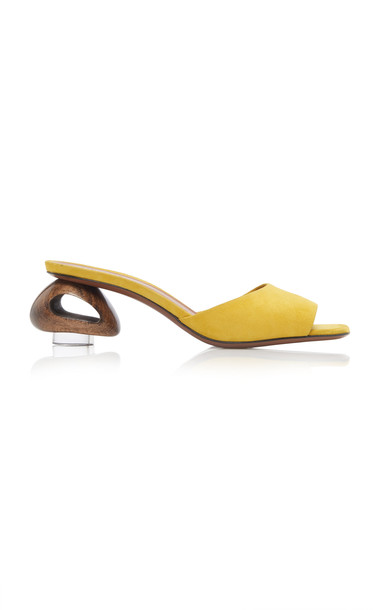 Neous Liparis Suede Slides Size: 38 in yellow