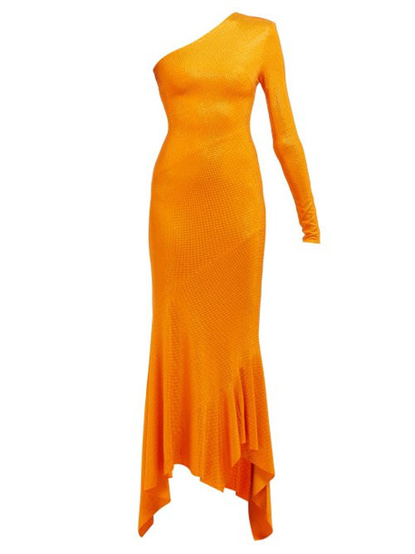 Alexandre Vauthier - Crystal Embellished Asymmetric Fishtail Gown - Womens - Orange
