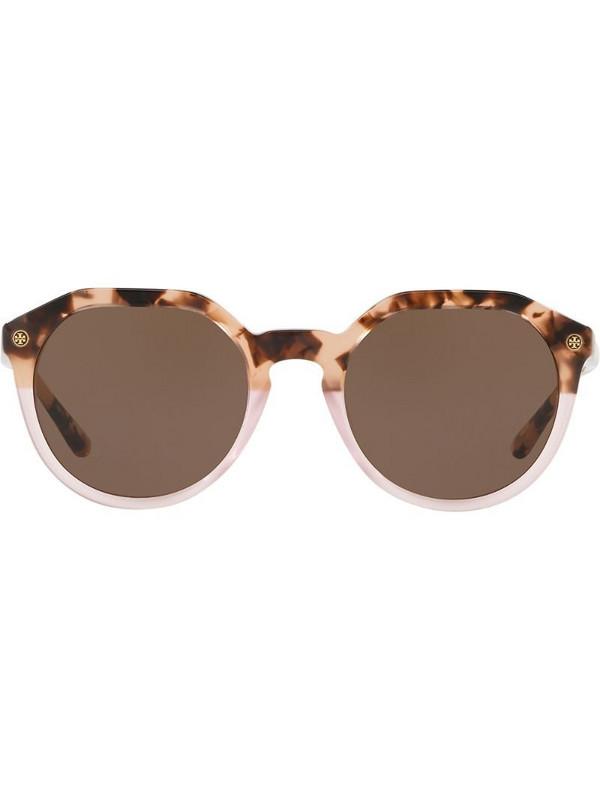 Tory Burch round frame sunglasses in neutrals
