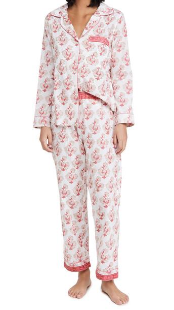 Alix of Bohemia Etoile Coralie Block Print Pajamas in pink / white