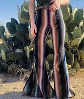jeans,striped wide leg pants