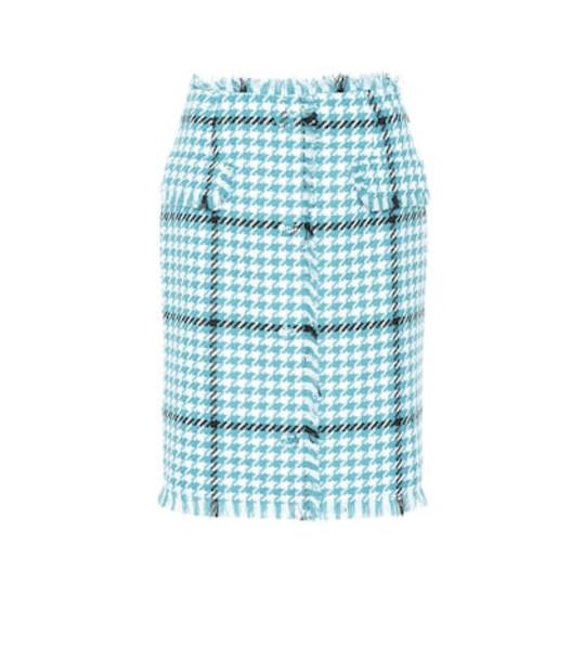 MSGM Houndstooth tweed skirt in blue