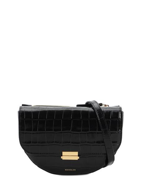 WANDLER Anna Croc Embossed Leather Shoulder Bag in black