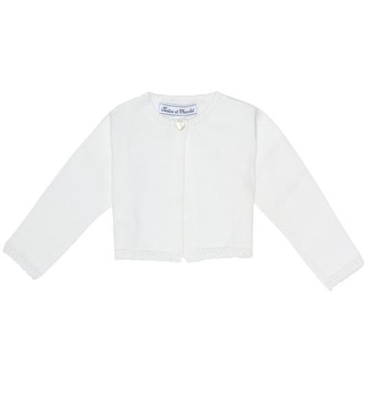 Tartine et Chocolat Baby cropped cotton cardigan in white