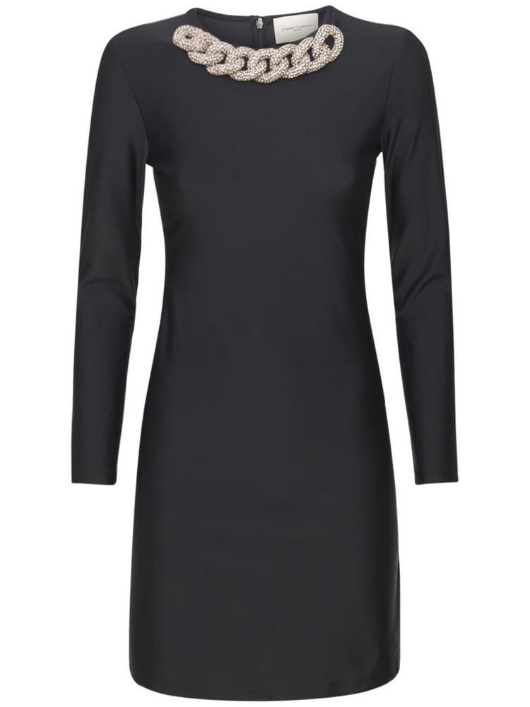 GIUSEPPE DI MORABITO Nylon Mini Dress W/ Chain Collar in black
