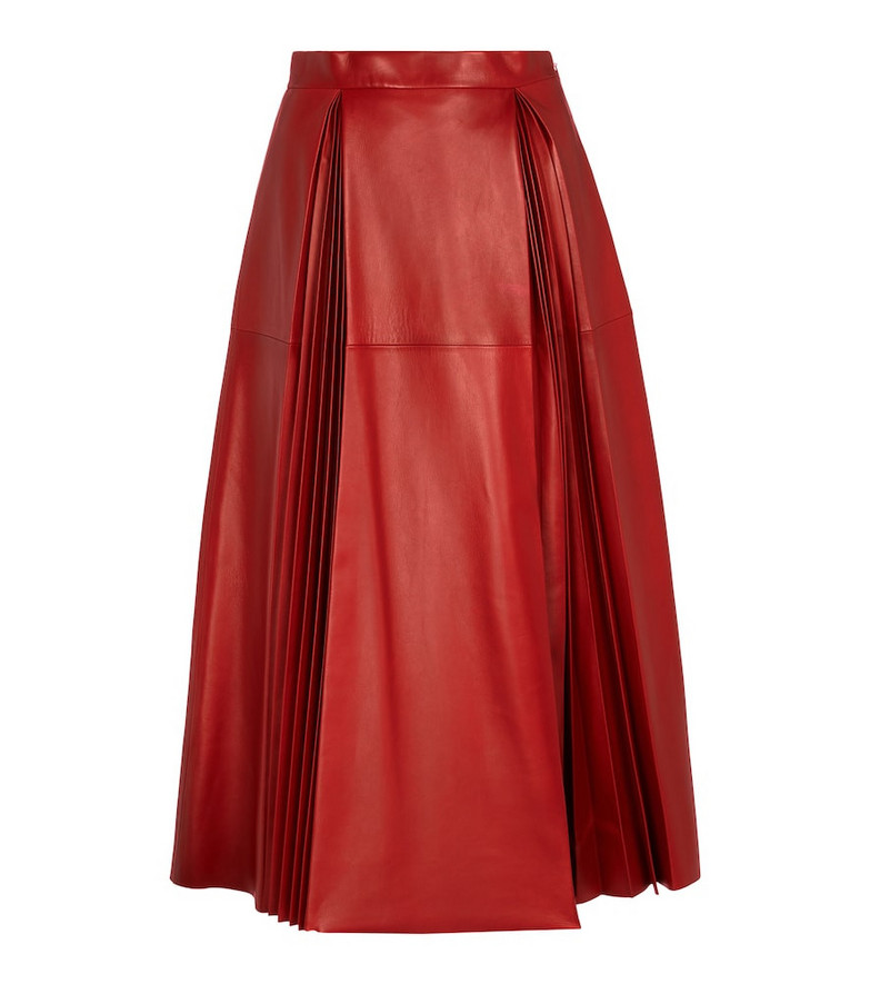 Gucci Leather midi skirt in red