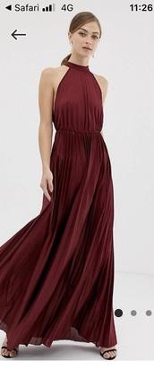 dress,red dress,open back,halter neck