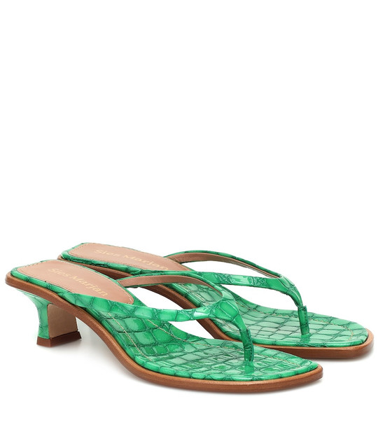 Sies Marjan Croc-effect leather sandals in green