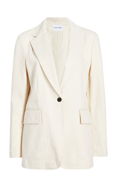Michelle Waugh The Dixie Oversized Shoulder Blazer Size: 0 in white