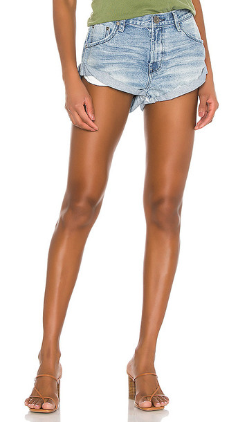 One Teaspoon Bandits Low Waist Denim Short in Blue