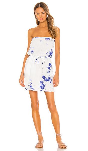 Velvet by Graham & Spencer Reta Dress in White in cobalt