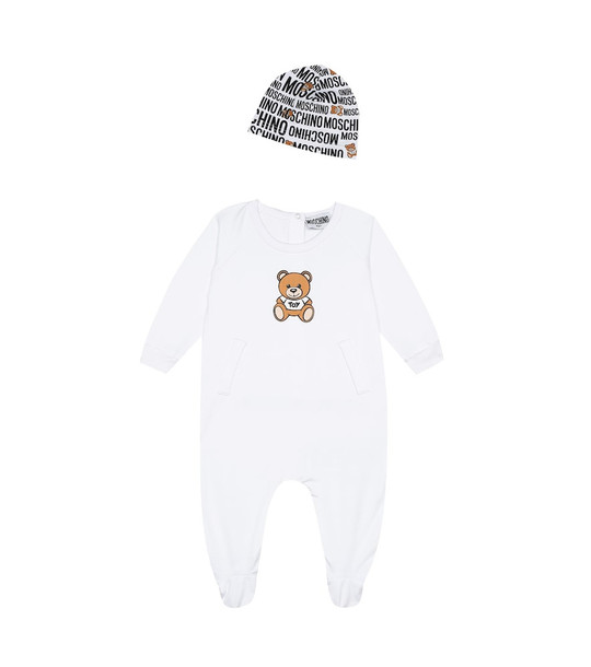 Moschino Kids Baby jersey onesie and hat set in white