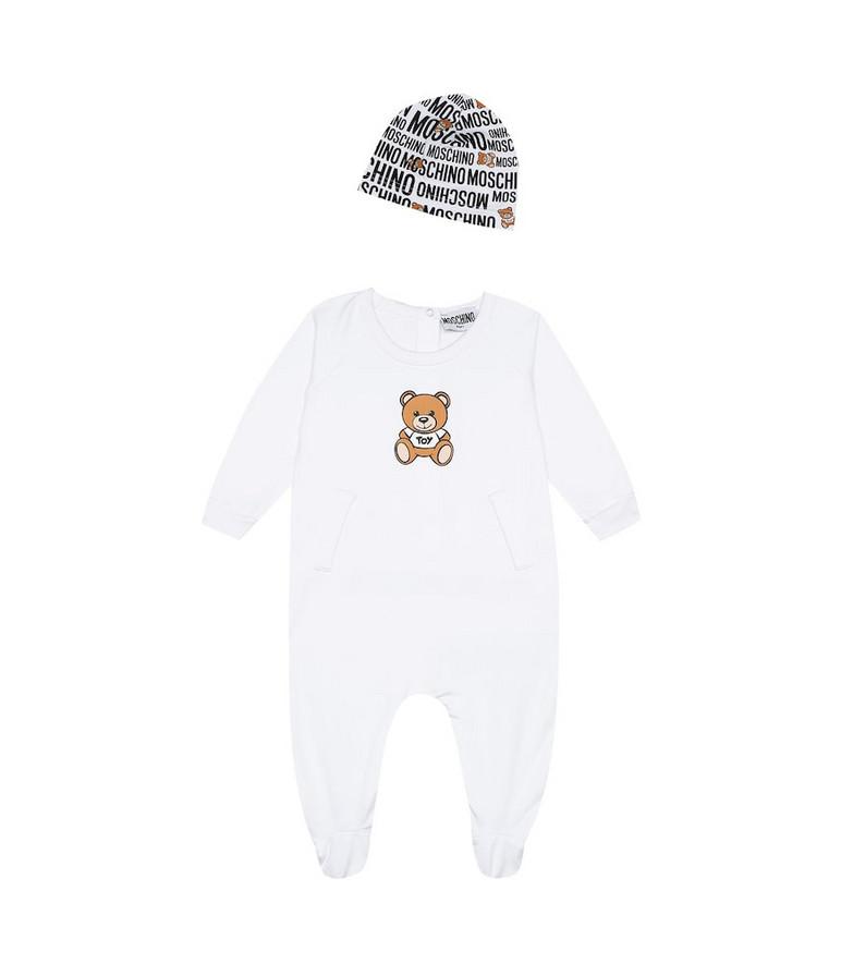 Moschino Kids Baby jersey onesie and hat set in white