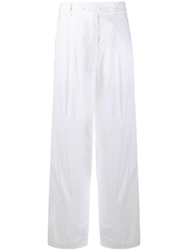 Maison Flaneur high waist wide-leg trousers in white