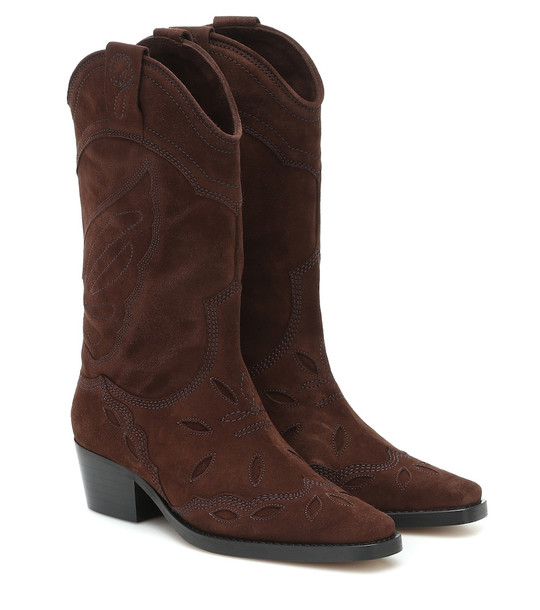 Ganni High Texas suede cowboy boots in brown