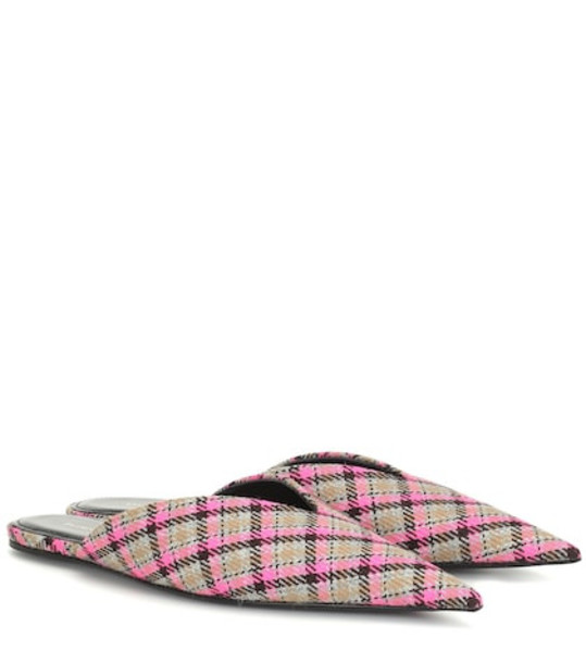 Balenciaga Knife checked wool slippers in pink