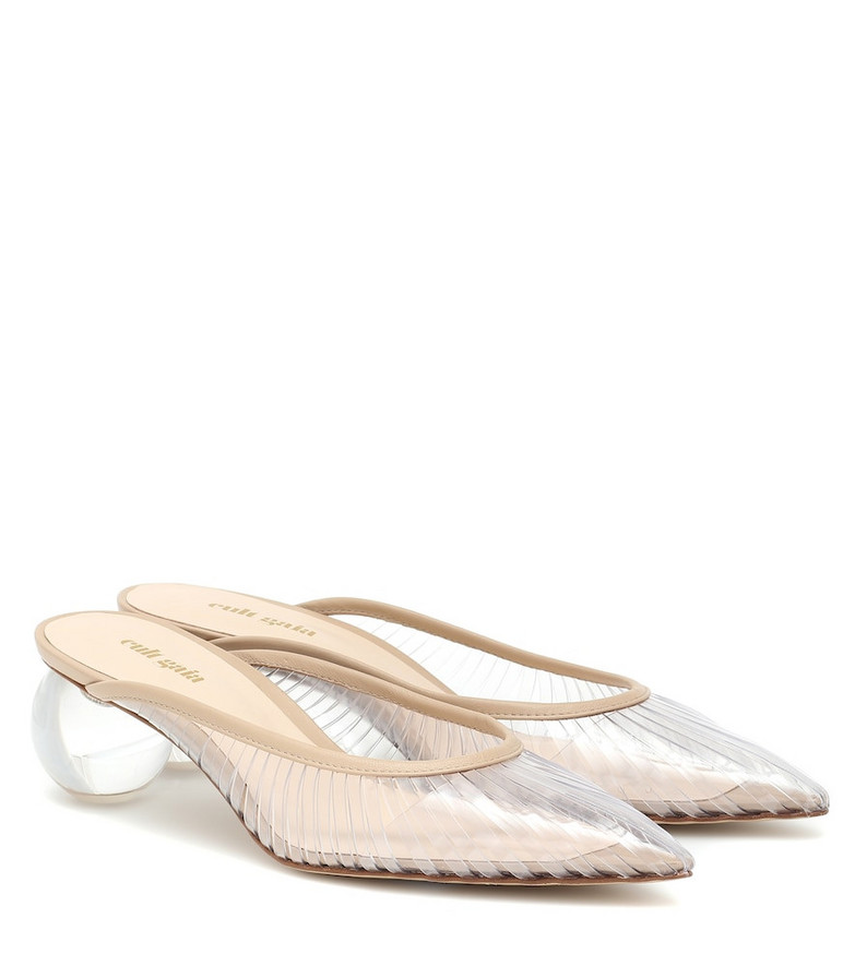 Cult Gaia Exclusive to Mytheresa – Alia leather-trimmed PVC mules in neutrals