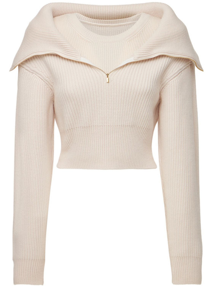 JACQUEMUS La Maille Risoul Knit Wool Crop Sweater in ivory