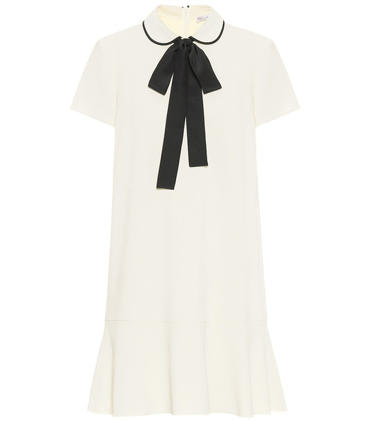 REDValentino Bow-embellished stretch-crêpe dress in white