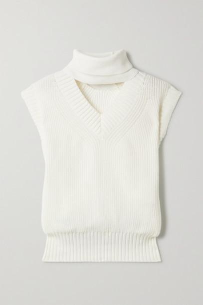 Sacai - Cutout Cotton-blend Turtleneck Sweater - Ivory
