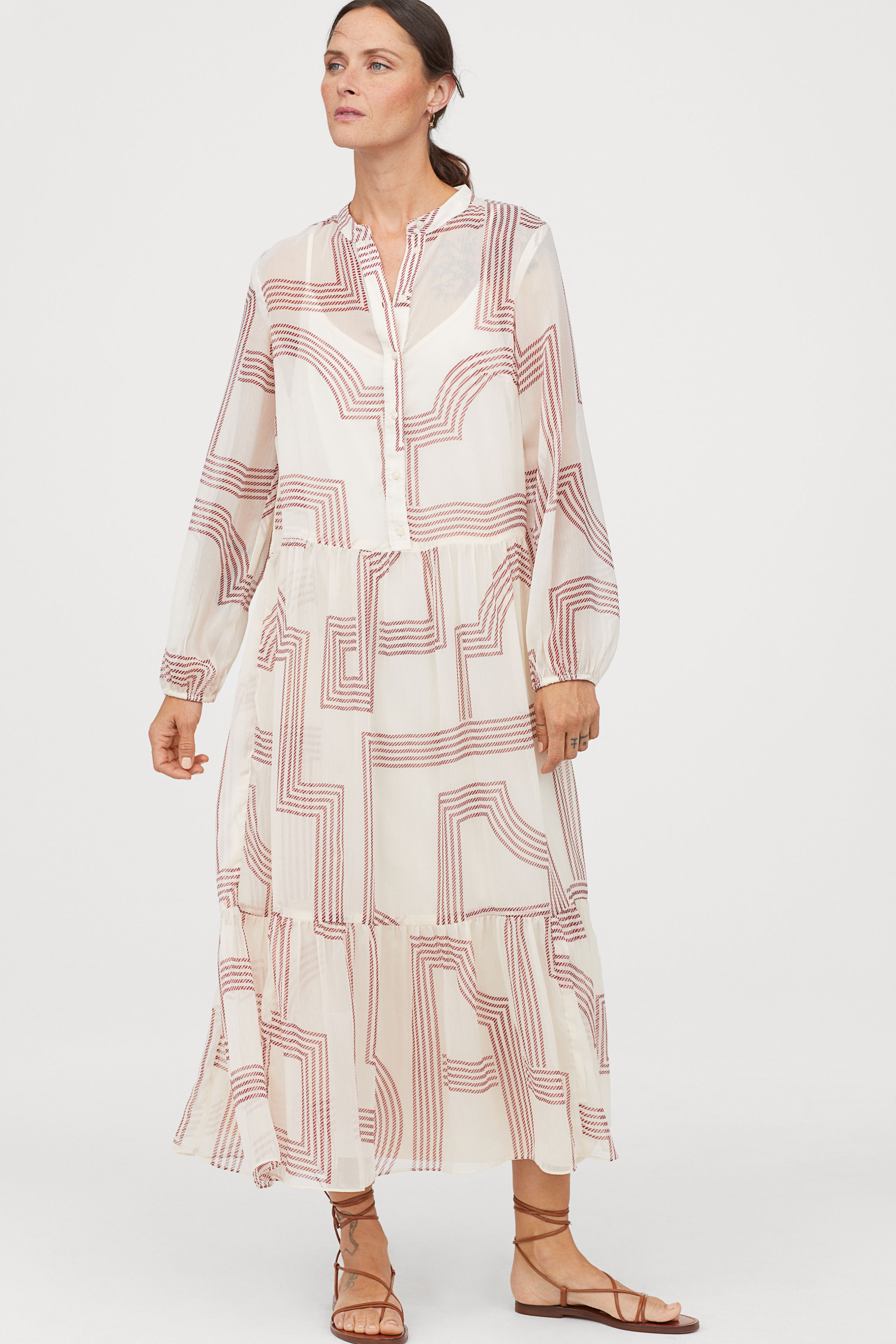 Chiffon dress - Natural white/Patterned - Ladies   H&M GB