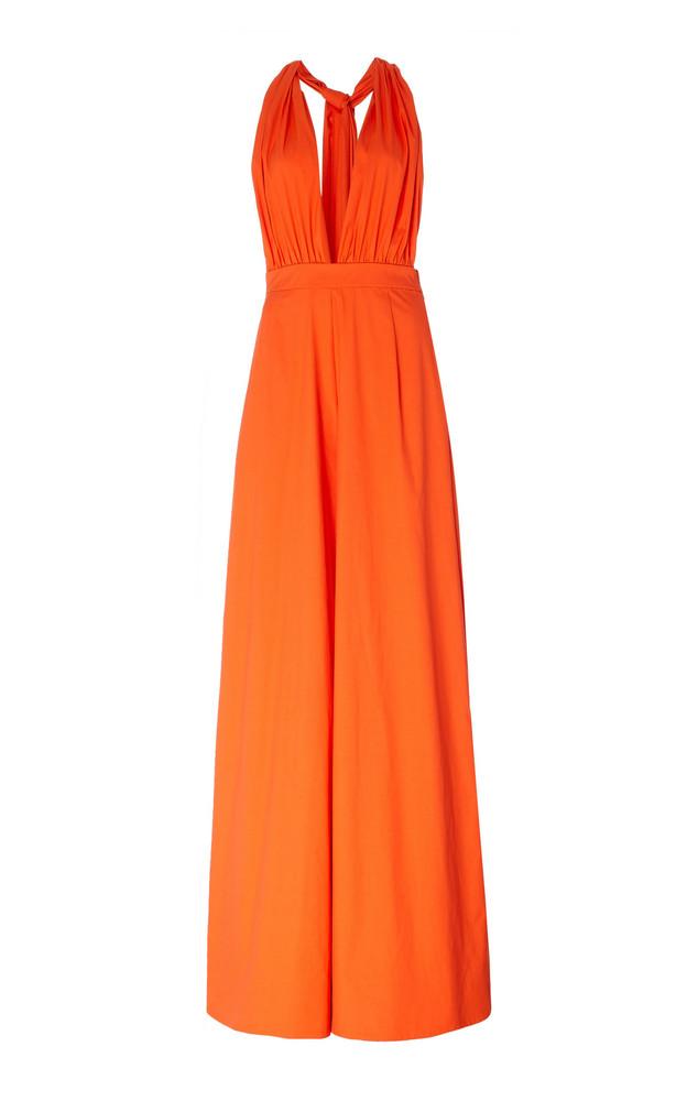 Oscar de la Renta Draped Stretch-Cotton Wide-Leg Jumpsuit in orange