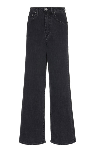 Toteme Flair Rigid High-Rise Wide-Leg Jeans in grey