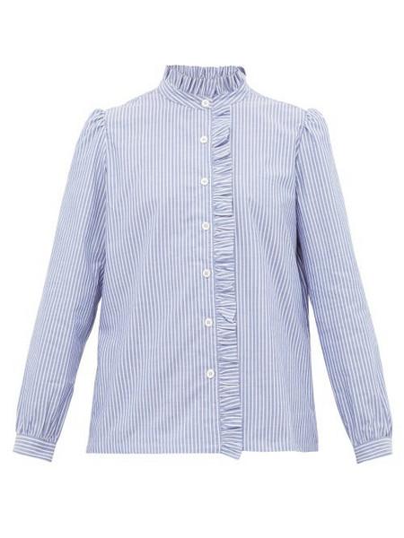 A.P.C. A.p.c. - Dunst Ruffle Trim Striped Cotton Blouse - Womens - Light Blue