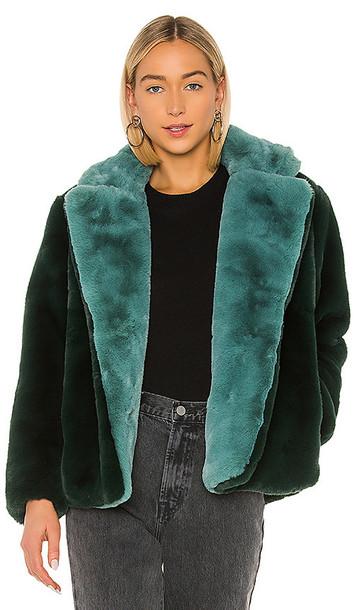 Apparis Kendall Faux Fur Jacket in Green