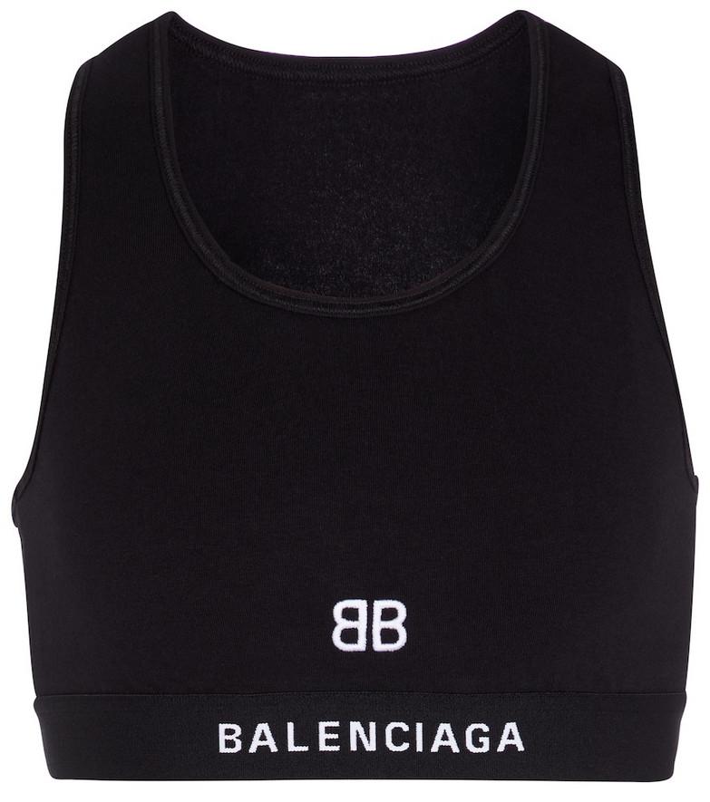 Balenciaga Cotton jersey sports bra in black
