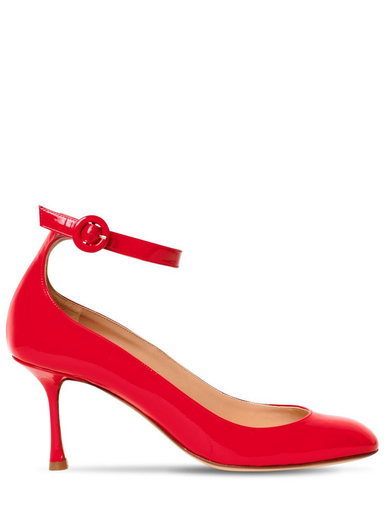 FRANCESCO RUSSO 75mm Patent Leather Pumps in red