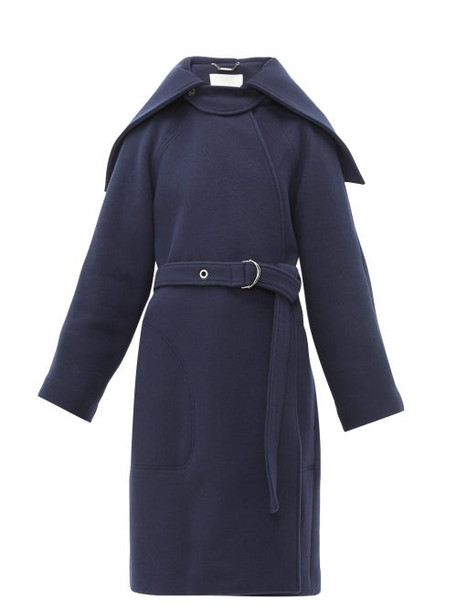 Chloé Chloé - Cape Collar Belted Wool Blend Coat - Womens - Navy