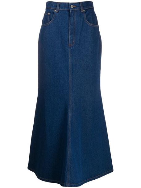 Nanushka Claudia fishtail denim skirt in blue