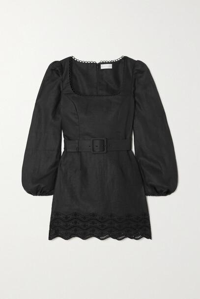 Rebecca Vallance - Zahara Belted Broderie Anglaise Linen Mini Dress - Black