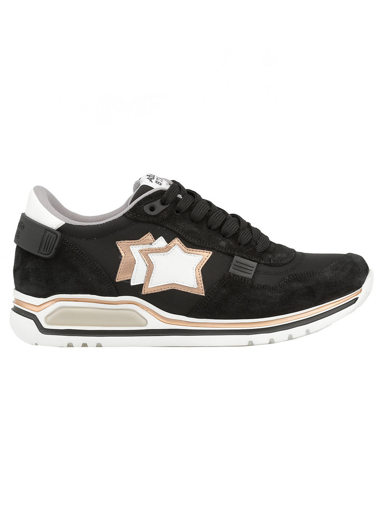 Atlantic Stars Leather And Tech Fabric Sneaker in black