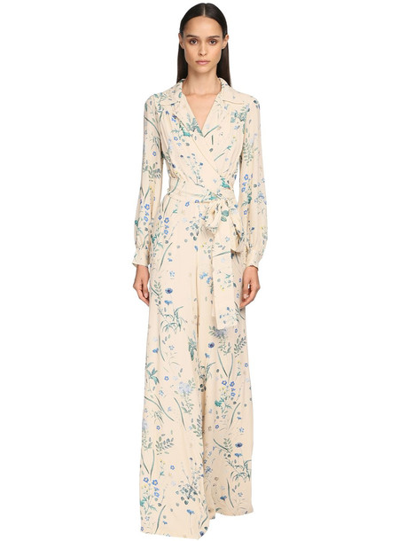 LUISA BECCARIA Floral Print Viscose Georgette Jumpsuit in ivory / multi